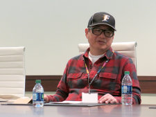 Takahiro Yoshimatsu at the press interview.